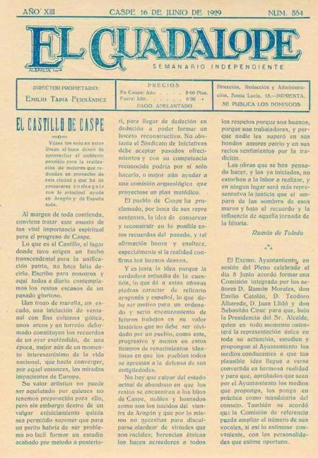AÑO XIII -CASPE 16 DE JUNIO DE 1929- NUM. 554